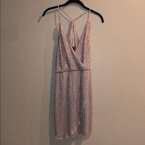 Express Dress Pink Champagne Shimmer Sz M